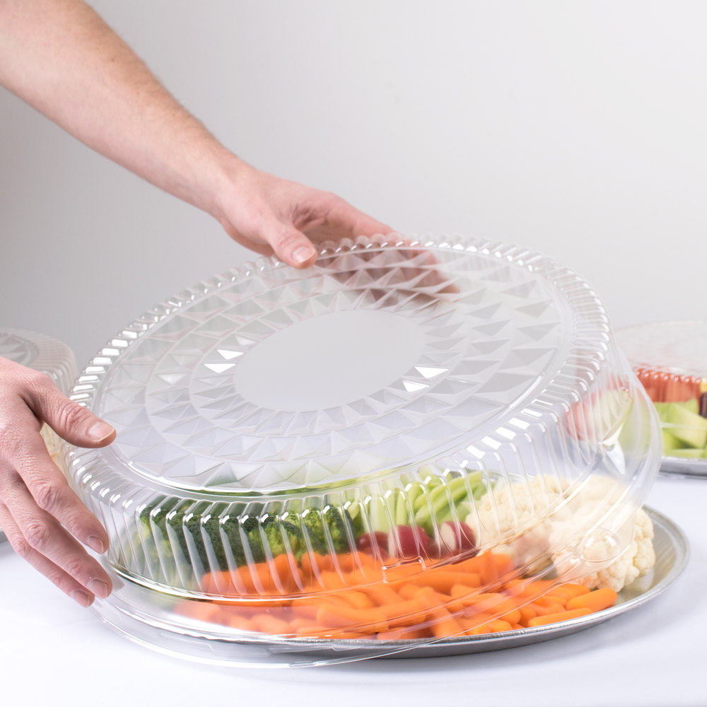 "Durable Packaging 16DL-25 16"" Clear Plastic Round High Dome Lid - 25/Case"