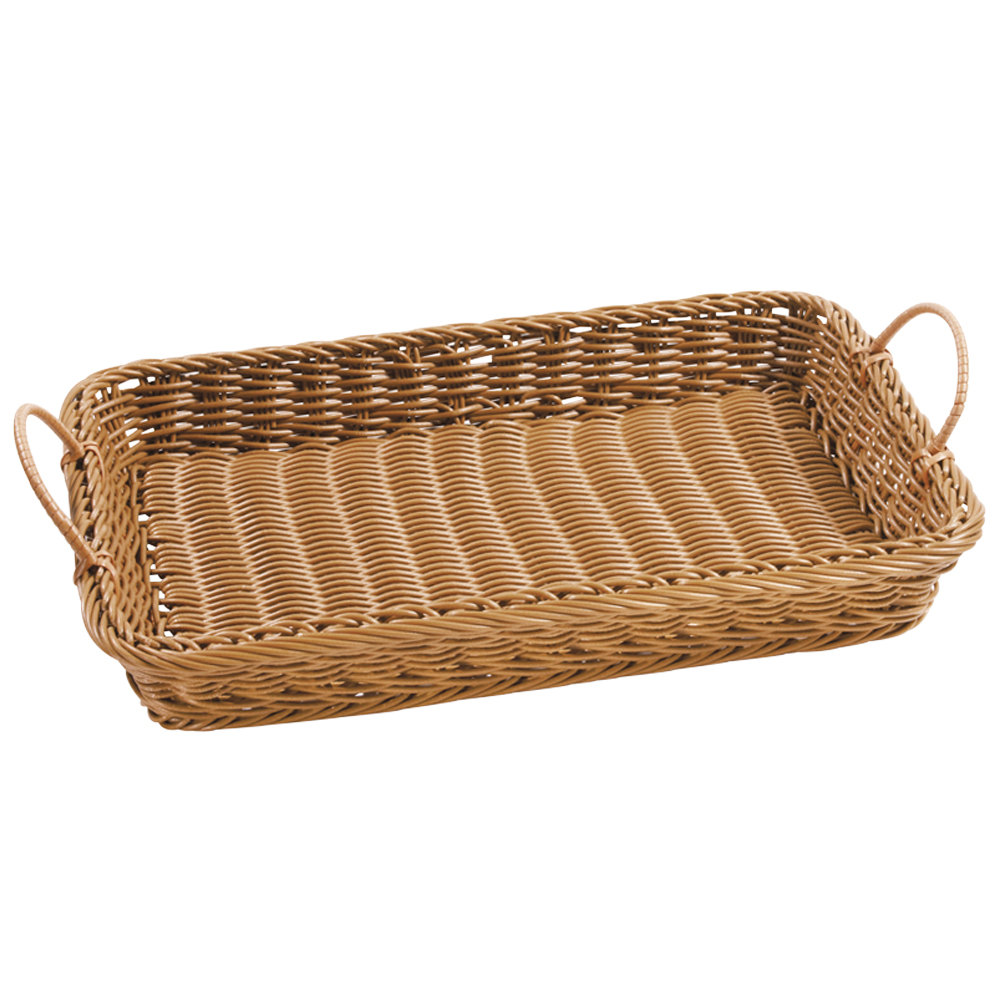 "GET WB-1524-H Designer Polyweave Plastic Rectangular Basket with Handles Honey - 18"" x 12 1/4"" x 2 1/2"" - 12 / Pack"