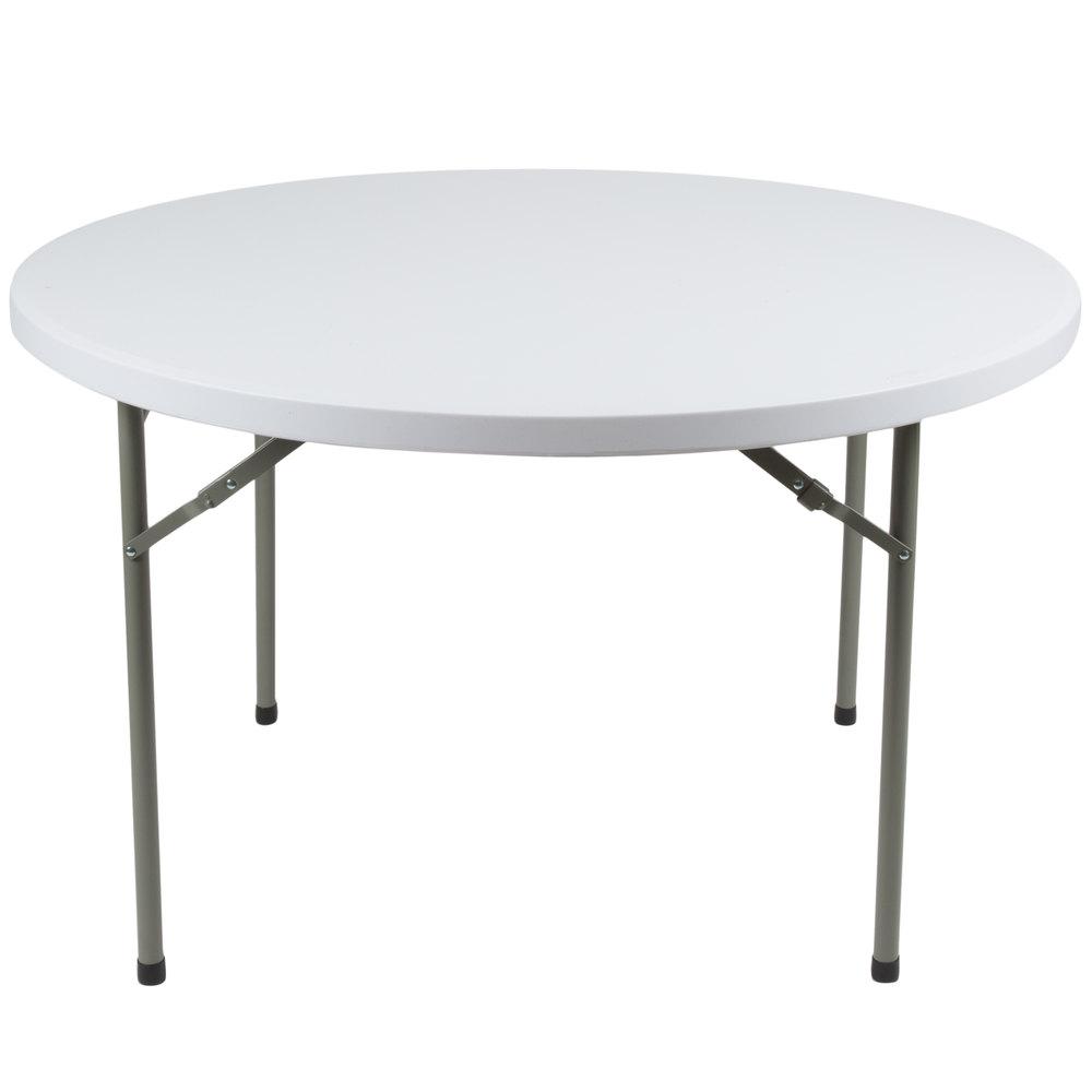 "Round Folding Table, 48"" Heavy Duty Plastic, White Granite"