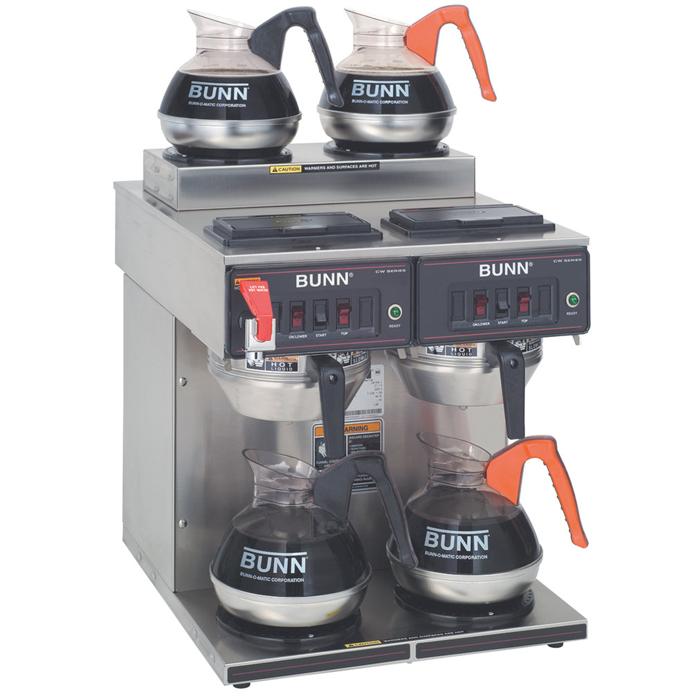 Bunn CWTF 2/2 Twin 12 Cup Automatic Coffee Brewer with 2 Upper and 2 Lower Warmers - 120 / 240V (Bunn 23400.0001)