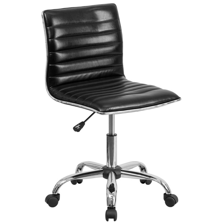 Designer Leather Chairs: Mid-Back Designer Ribbed Black Leather Office Chair / Task