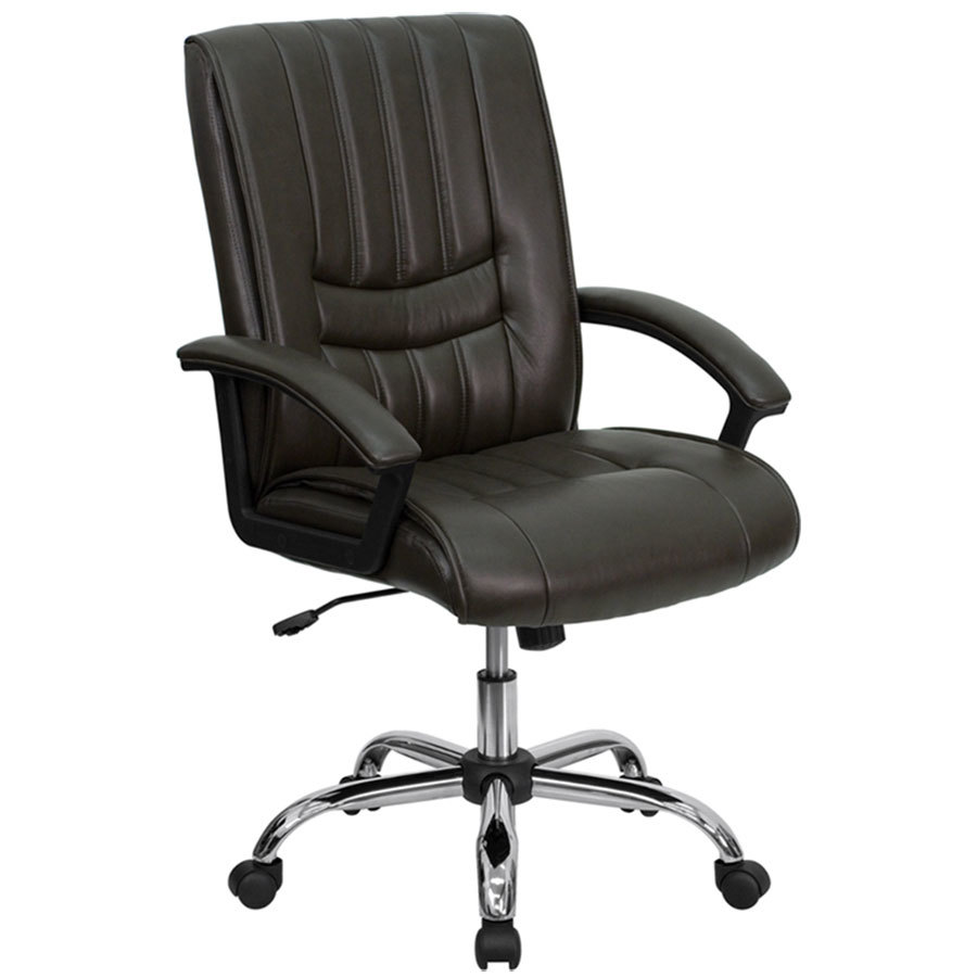 brown leather manager 39 s office chair with chrome finished base