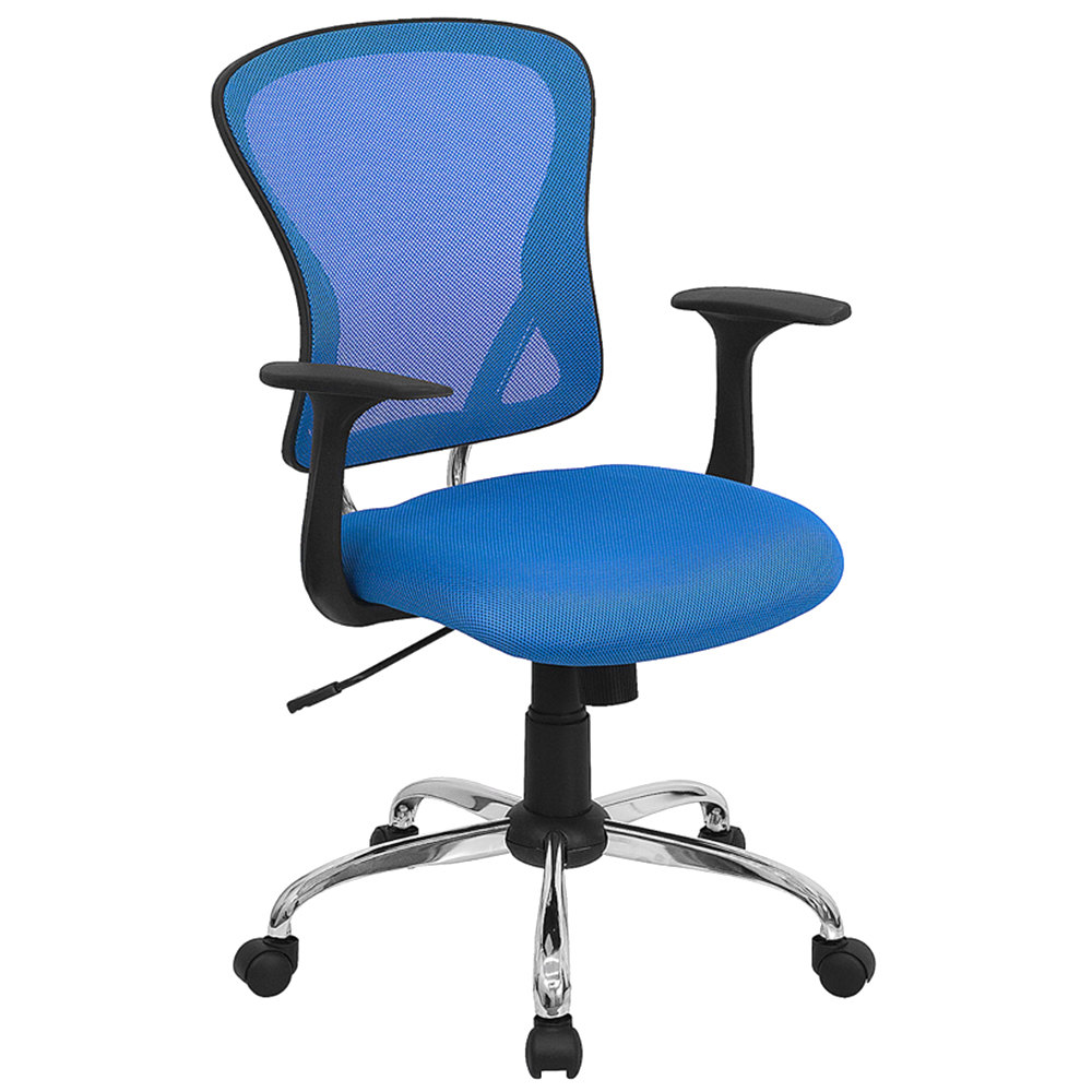 Mid Back Blue Mesh Office Chair With Arms Padded Seat And Chrome Base