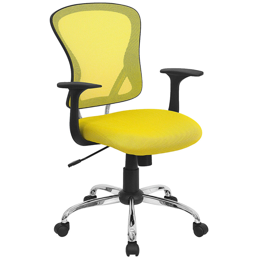 Mid Back Yellow Mesh Office Chair With Arms Padded Seat And Chrome Base