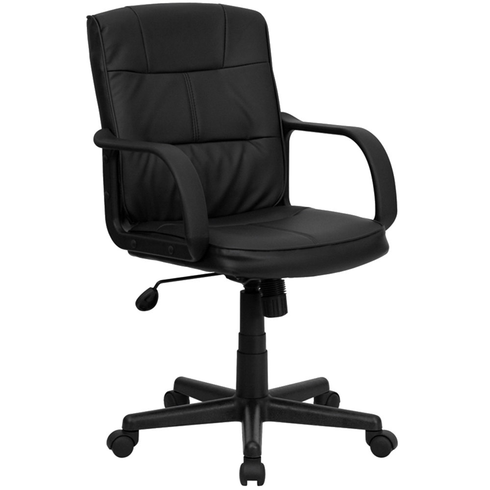 Flash Furniture GO 228S BK LEA GG Mid Back Black Leather Office Chair