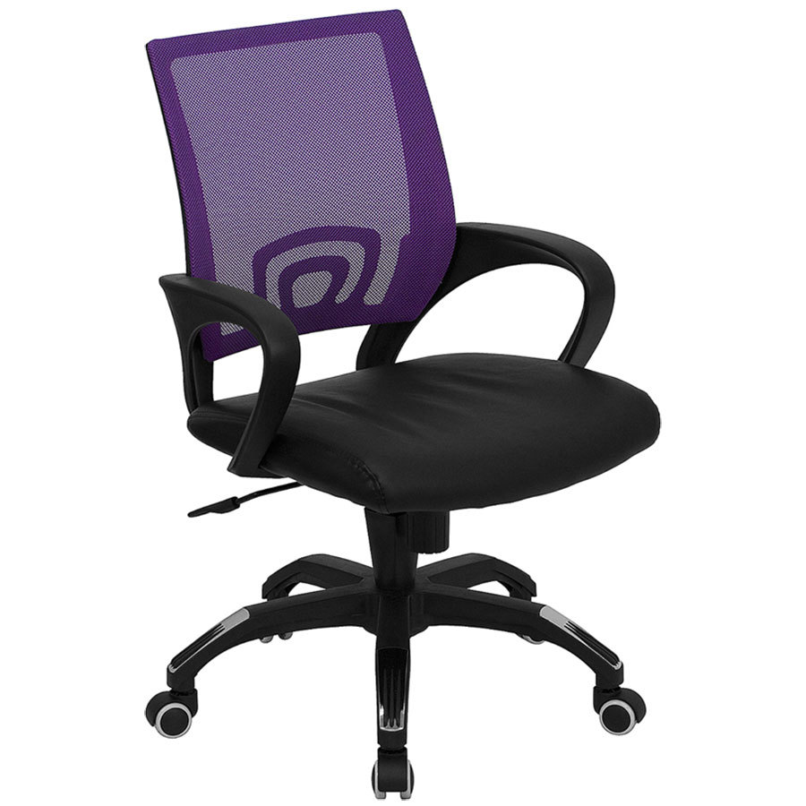 Polyurethane Casters For Office Chairs ... Computer / Office Chair with Purple Mesh Back and Black Leather Seat