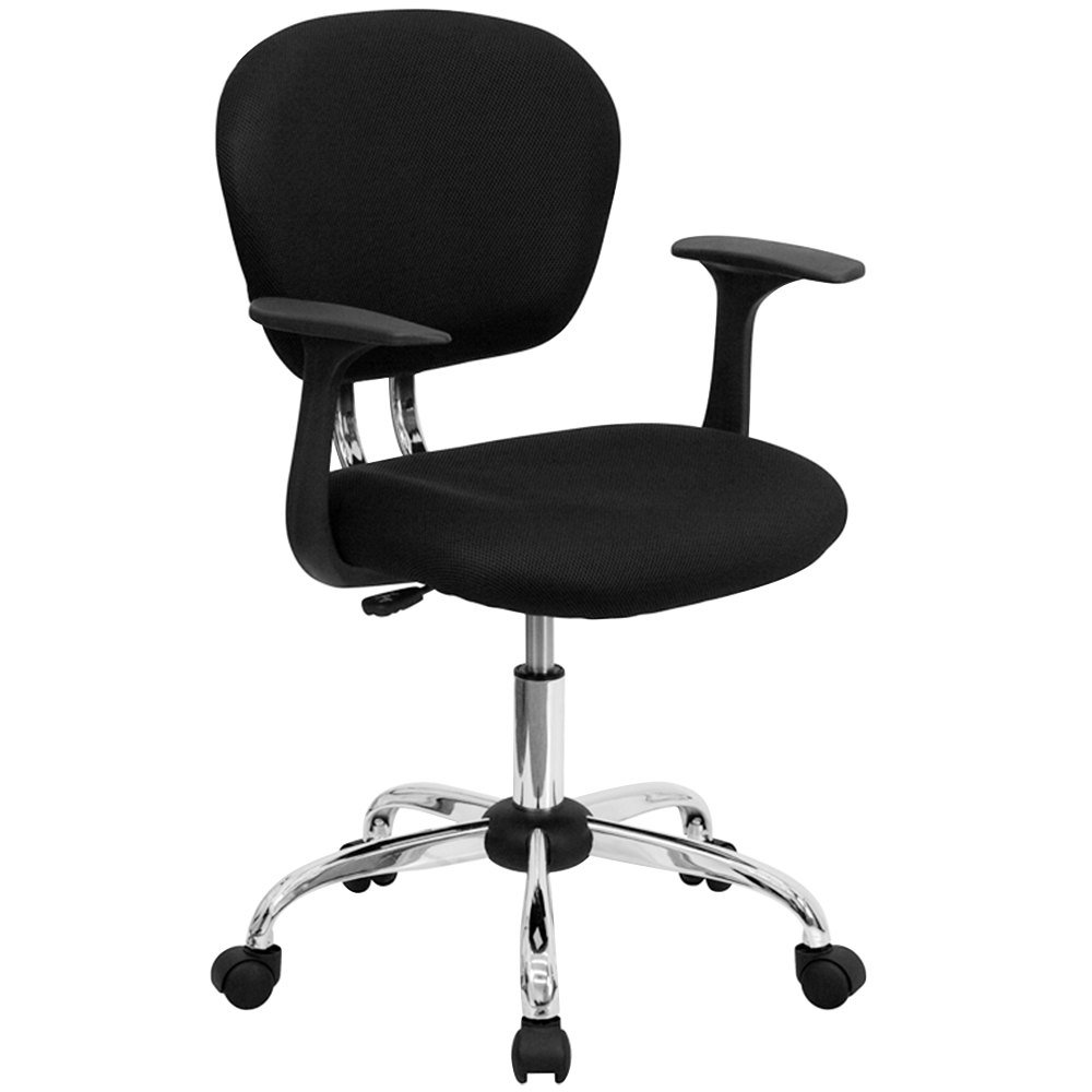 Flash Furniture H F Bk Arms Gg Mid Back Black Mesh Office