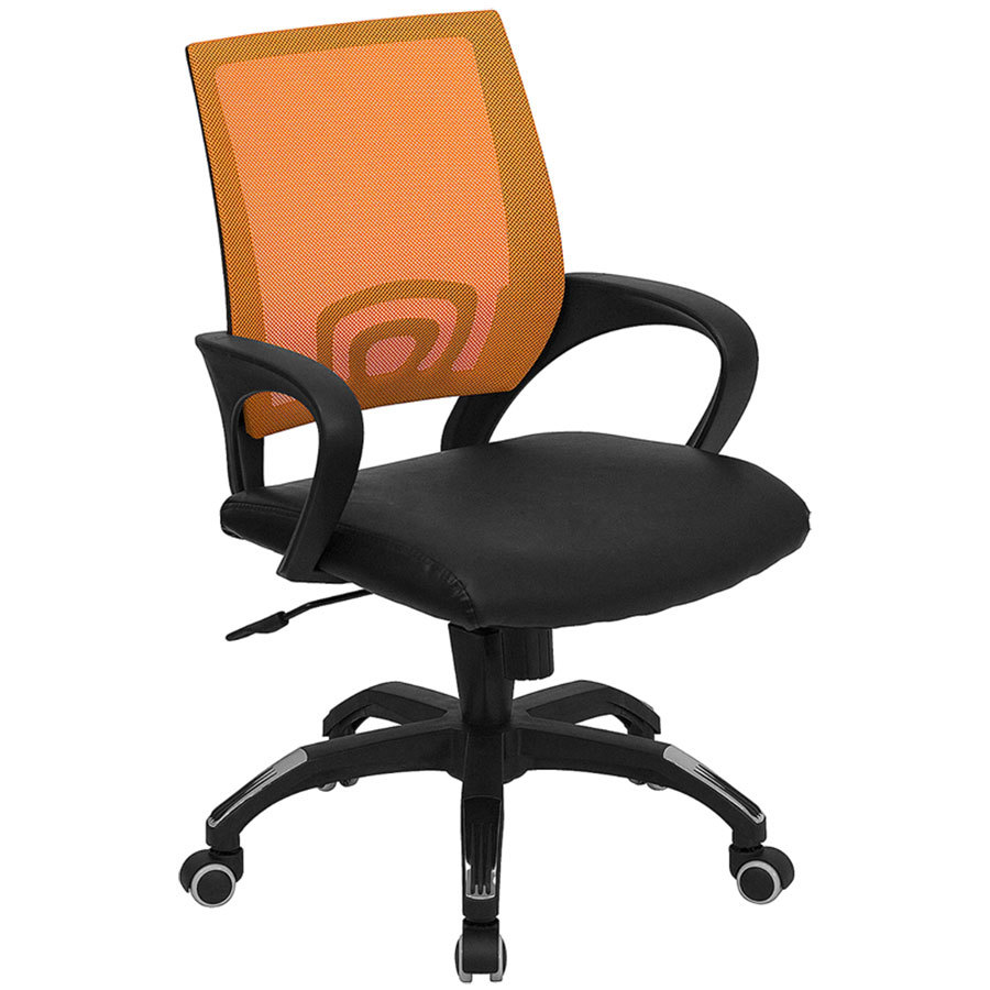 Mid-Back Computer / Office Chair with Orange Mesh Back and ...