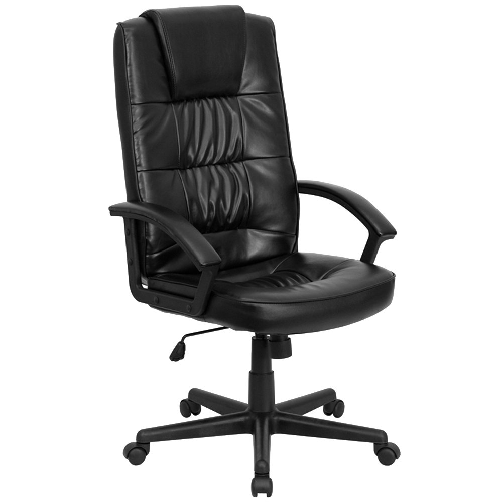 High Back Black Leather Executive Office Chair With Nylon Base And Padded Arms
