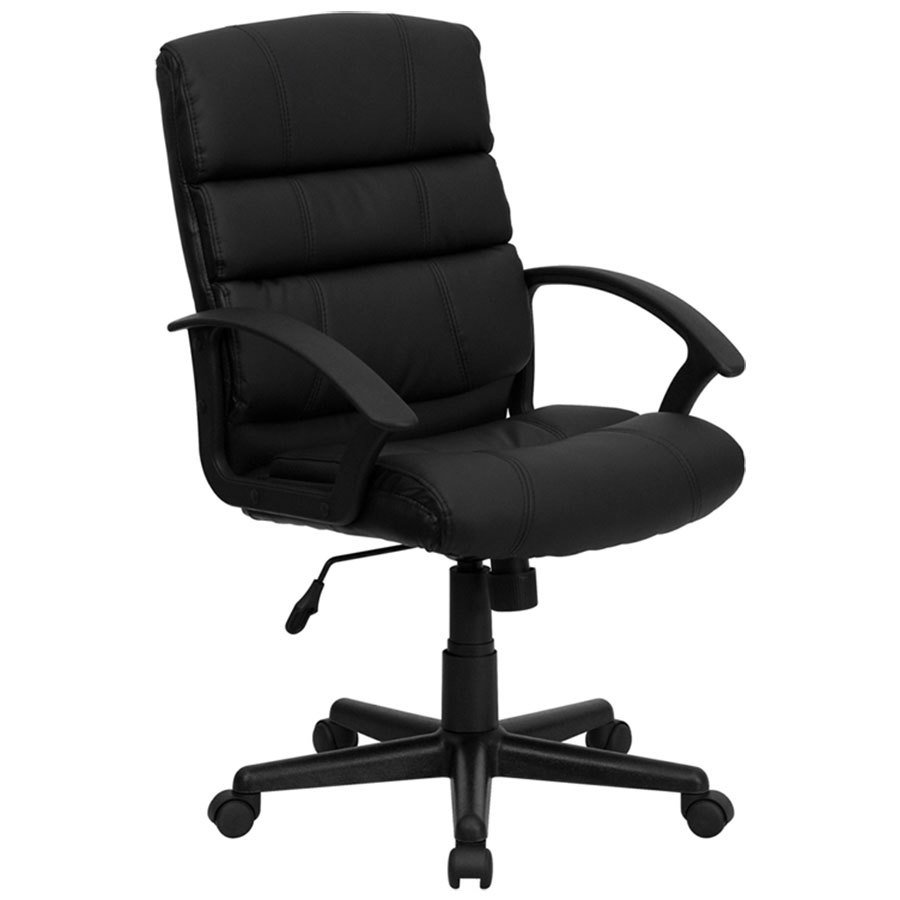 Polyurethane Casters For Office Chairs ... Mid-Back Black Leather Office Chair with Arms and Spring Tilt Control