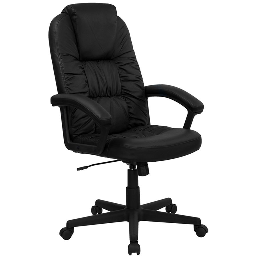 black leather executive swivel office chair with leather padded nylon