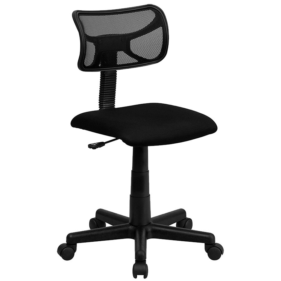 mid back black mesh office chair task chair with padded seat
