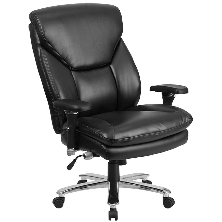 high back black leather intensive use multi shift swivel