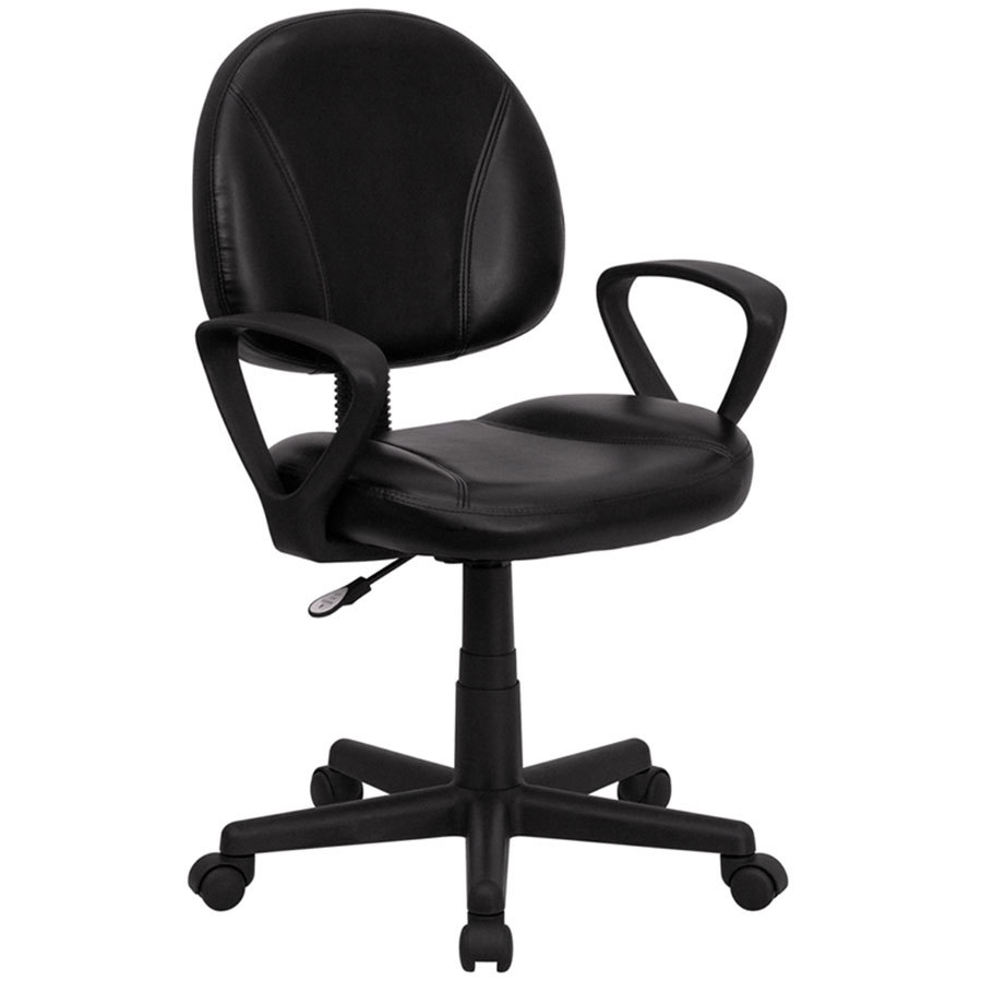 Polyurethane Casters For Office Chairs ... Mid-Back Black Leather Ergonomic Office Chair / Task Chair with Arms