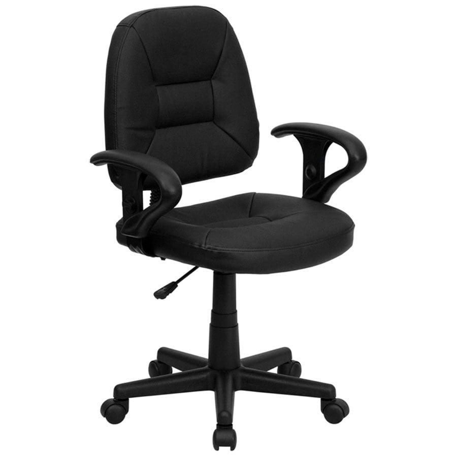 Mid back black leather ergonomic office chair task