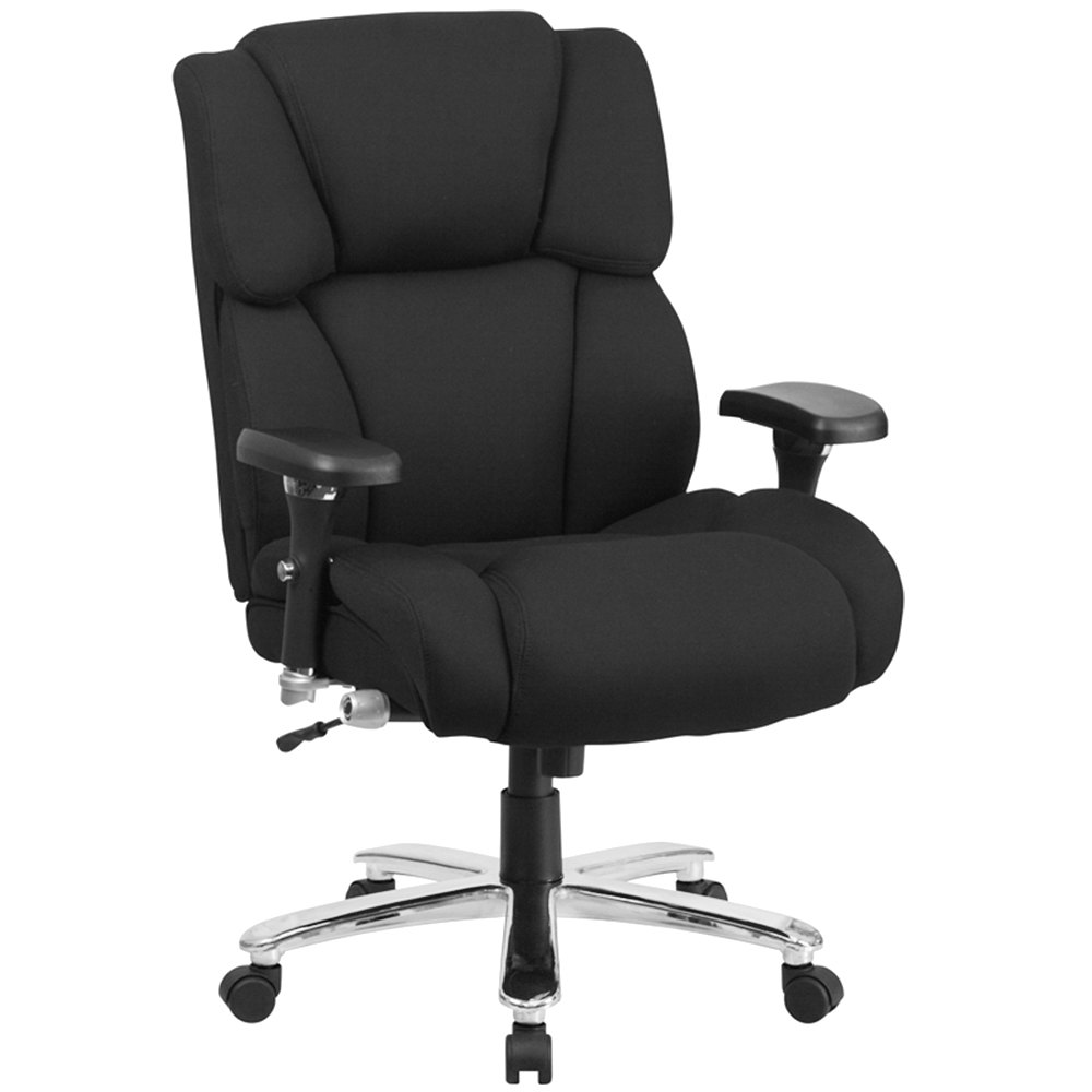 high back black fabric intensive use multi shift swivel office chair with lumbar support knob. Black Bedroom Furniture Sets. Home Design Ideas