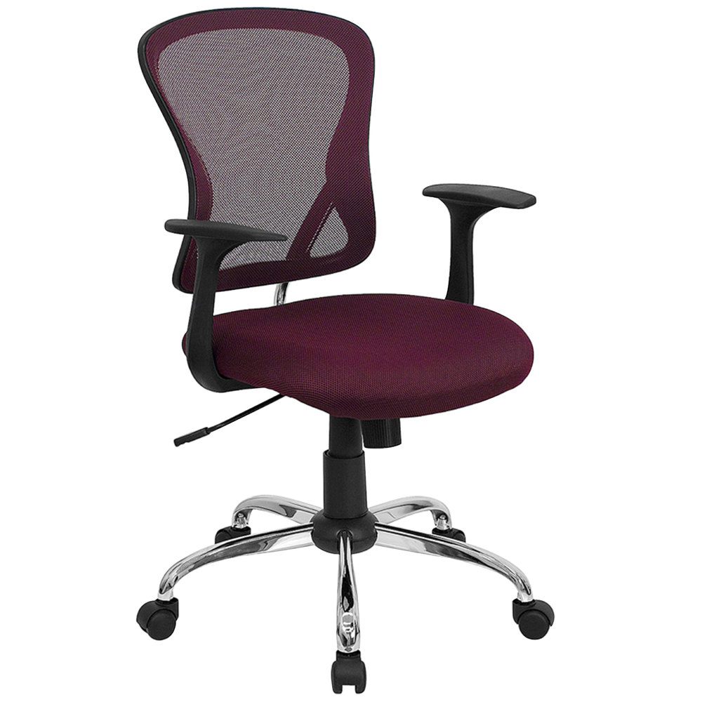 Mid Back Burgundy Mesh Office Chair With Arms Padded Seat And Chrome Base