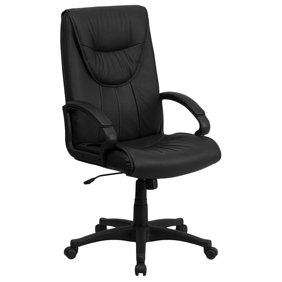 High Back Black Leather Executive Swivel Office Chair With Leather Padded Pol