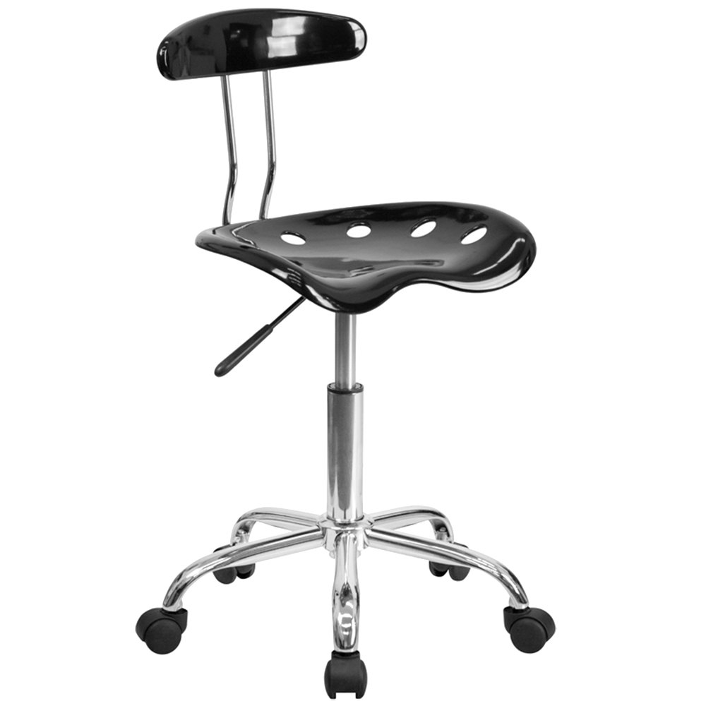 Tractor Seat Desk Chair : Black office task chair with tractor seat and chrome frame
