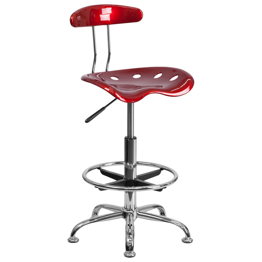 Tractor Seat Desk Chair : Wine red drafting stool with tractor seat and chrome frame