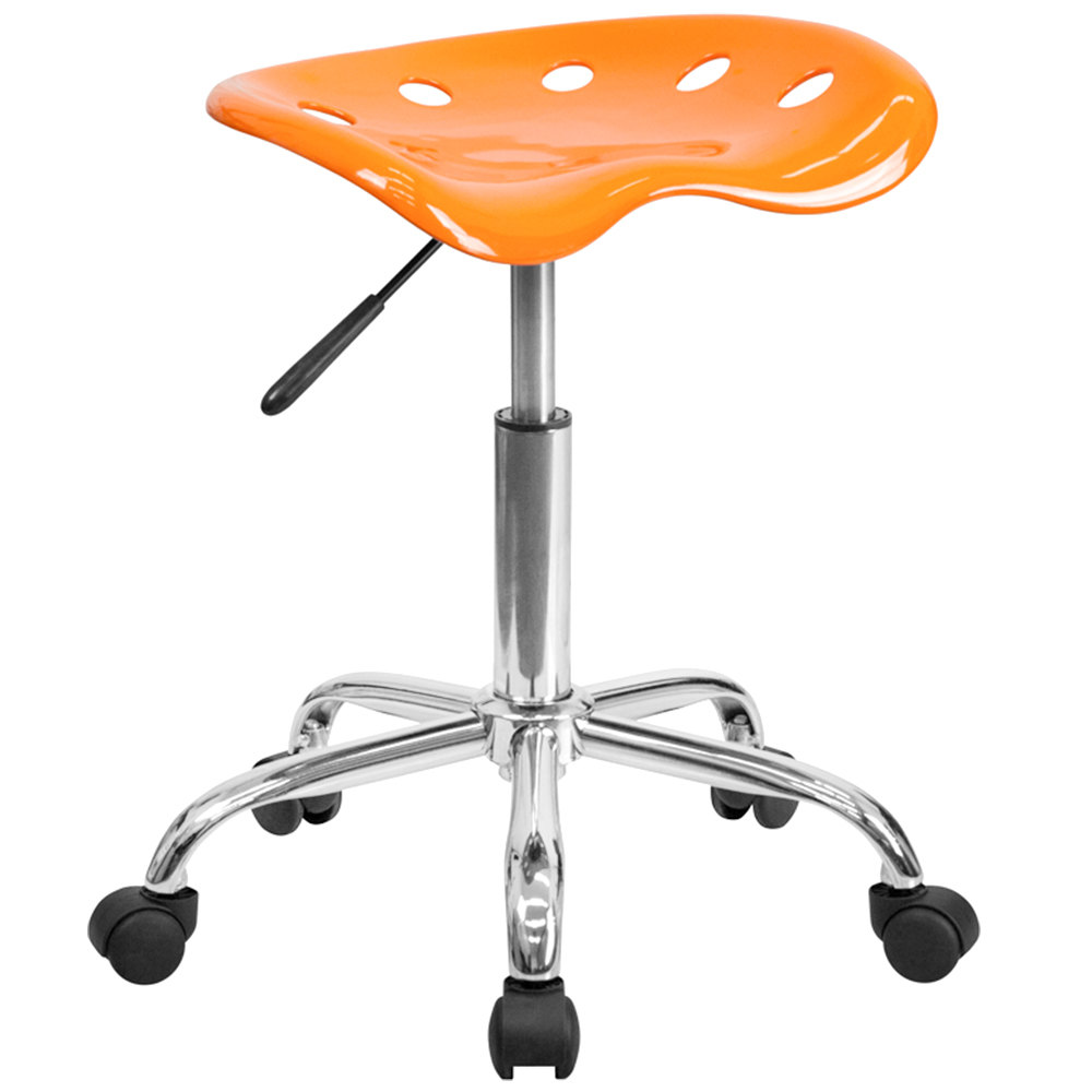 Chrome Tractor Seats : Orange office stool with tractor seat and chrome frame