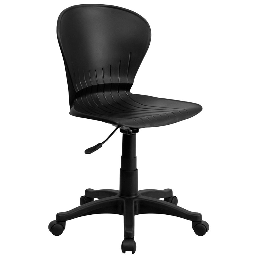 Mid Back Black Plastic Office Task Chair With Nylon Frame And Swivel Base