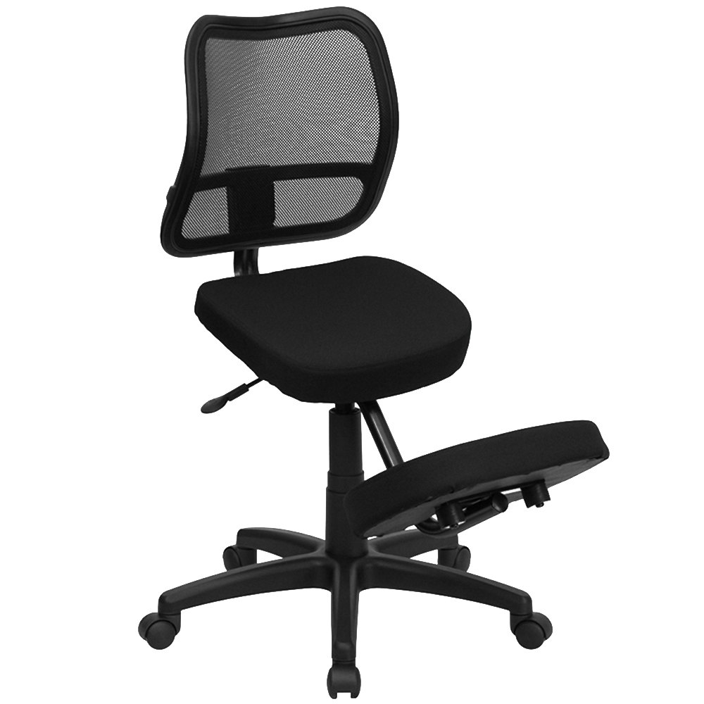 Black and white office chair - Flash Furniture Wl 3425 Gg Black Ergonomic Mobile Kneeling Office Chair With Nylon Frame Swivel Base And Curved Mesh Back Rest