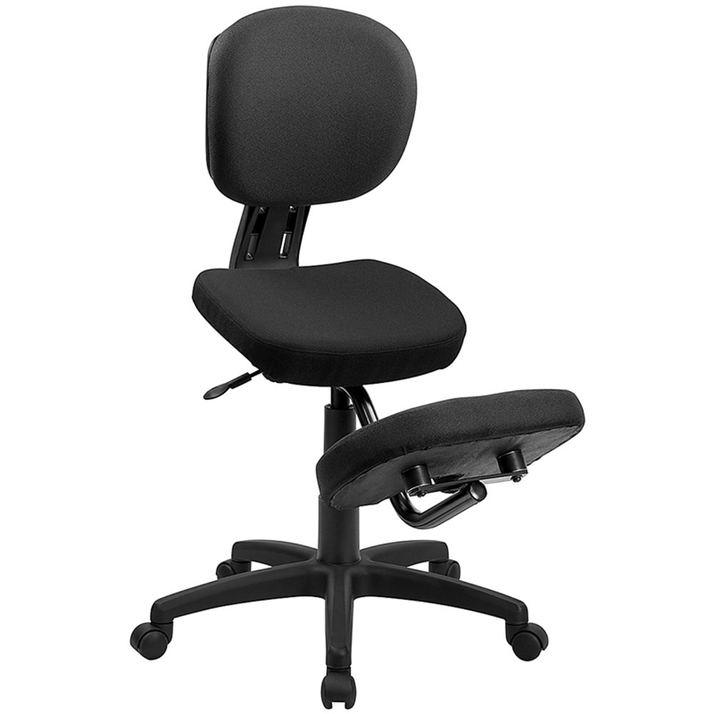 Black Ergonomic Mobile Kneeling Office Chair With Nylon