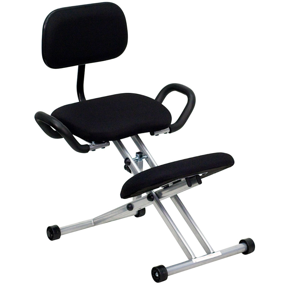 Black Ergonomic Kneeling Office Chair With Silver Steel