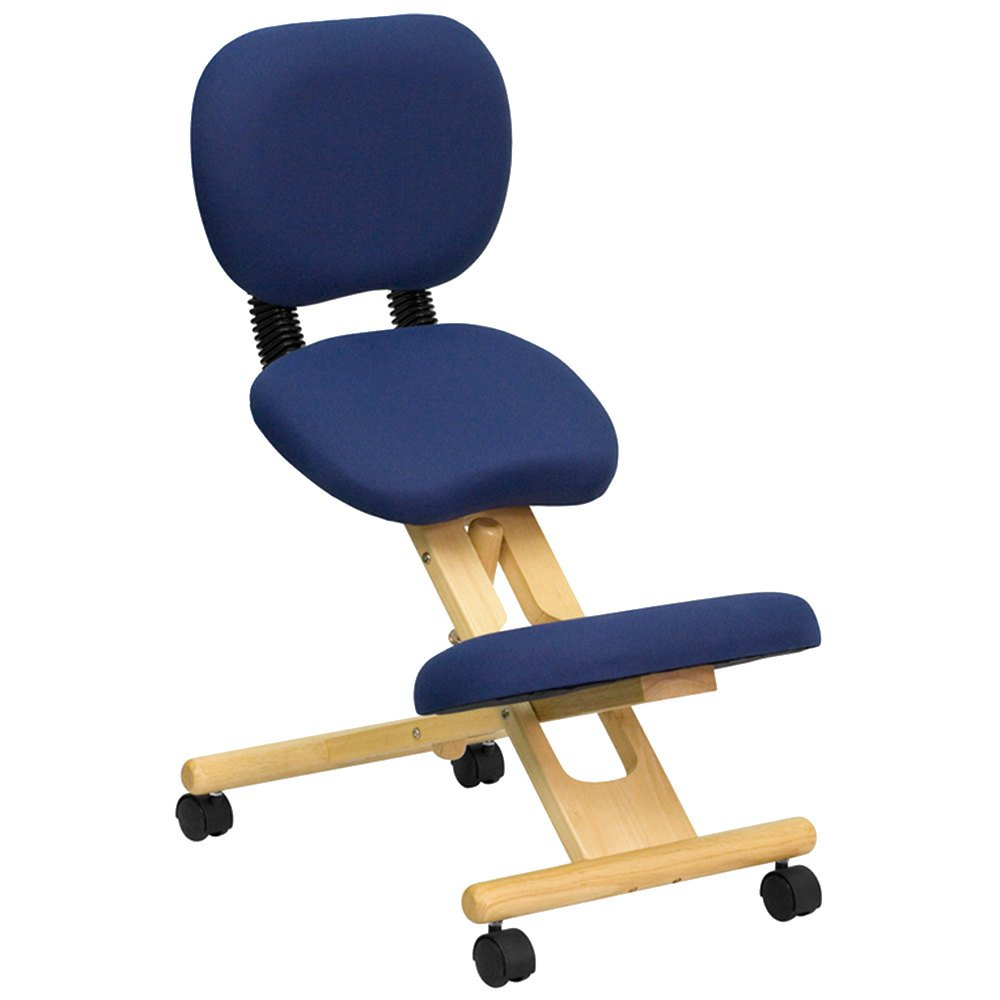 blue ergonomic mobile kneeling office chair with wooden frame and reclining back rest. Black Bedroom Furniture Sets. Home Design Ideas