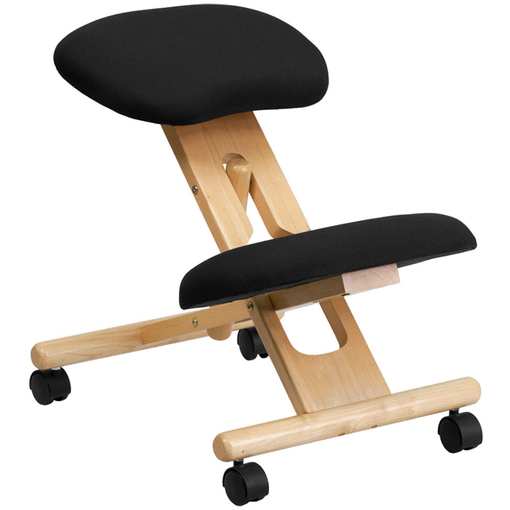 Black Ergonomic Mobile Kneeling Office Chair With Wooden Frame