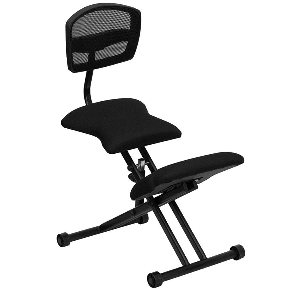 black ergonomic kneeling office chair with black steel frame and flat mesh back rest. Black Bedroom Furniture Sets. Home Design Ideas