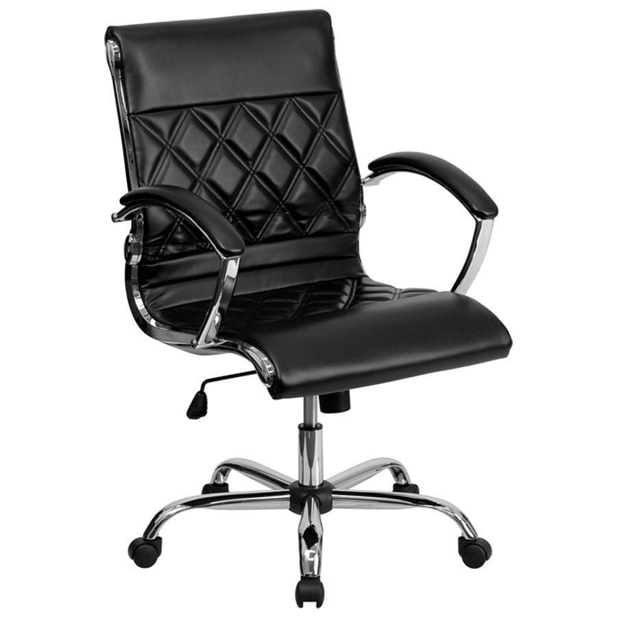 Leather Executive Office Chair With Chrome Arms And Foam Molded Seat
