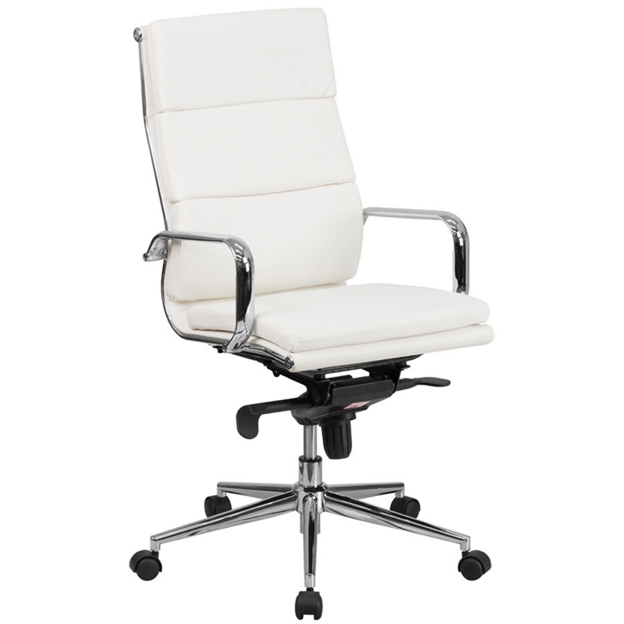 High back white leather executive swivel office chair with for White chair