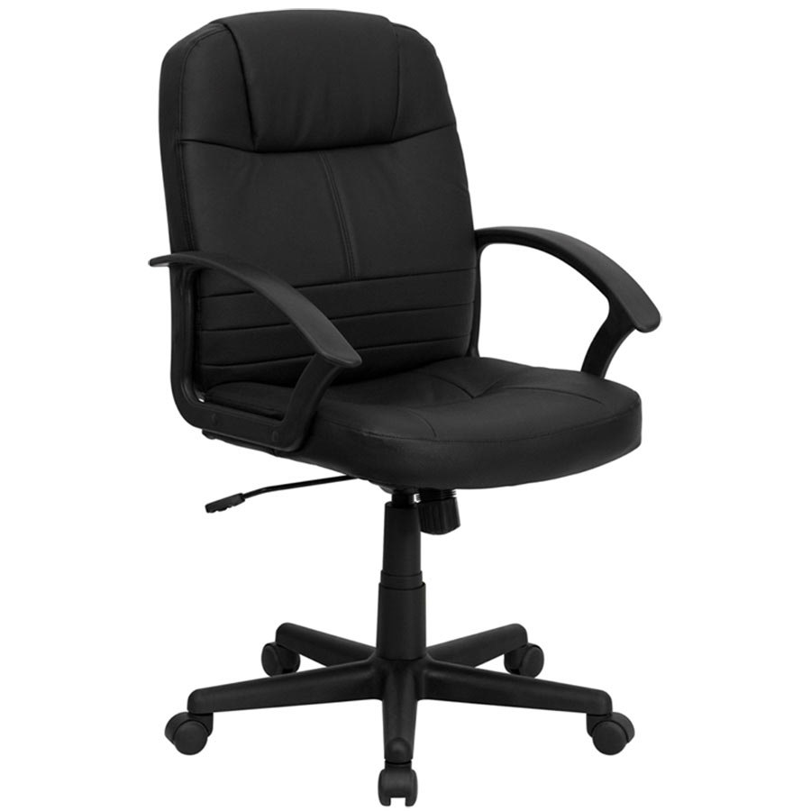Mid Back Black Leather Executive Swivel Office Chair With Polypropylene Arms