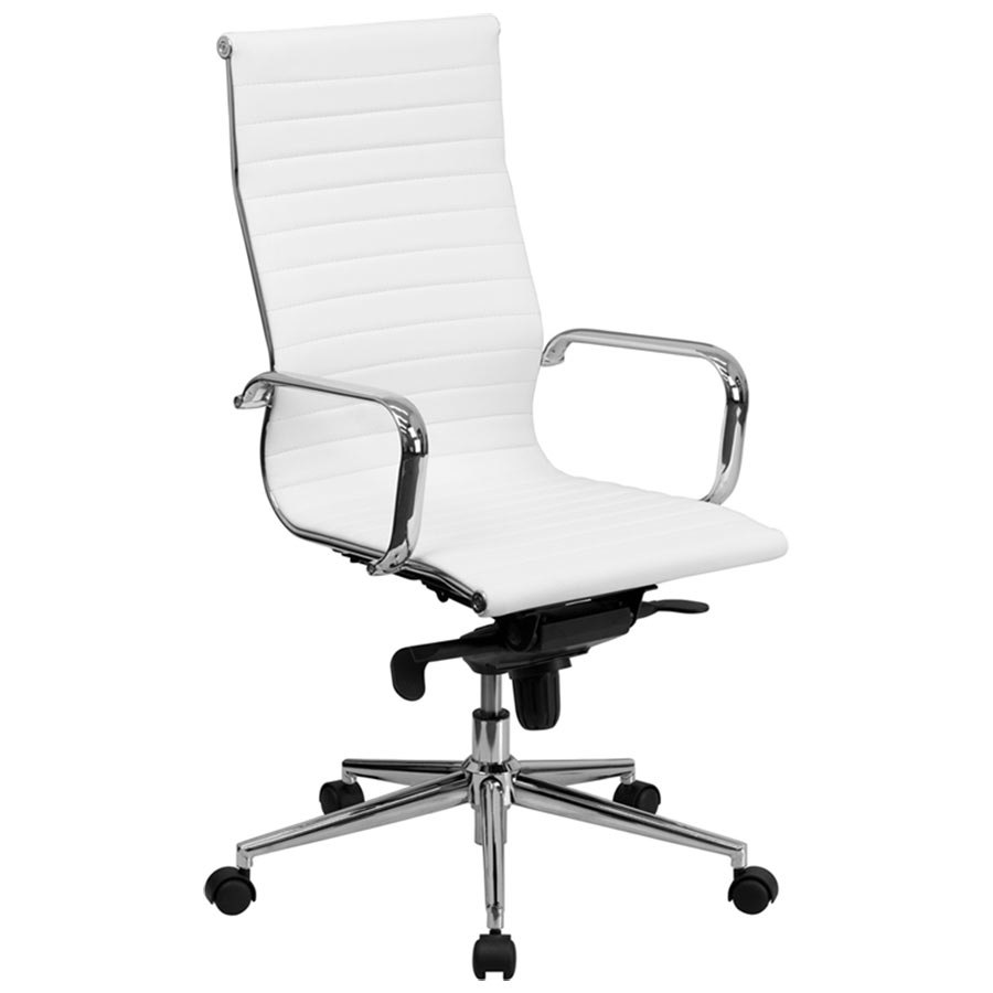 flash furniture bt 9826h wh gg high back white ribbed leather executive swivel office chair with. Black Bedroom Furniture Sets. Home Design Ideas