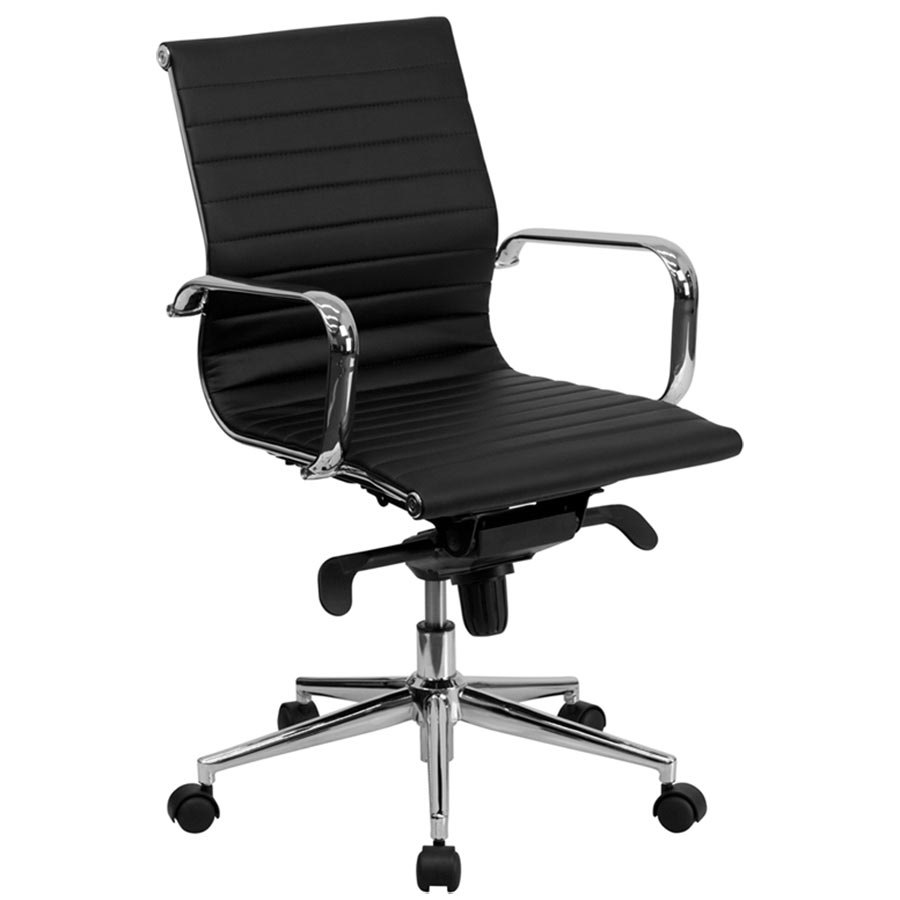 mid back black ribbed leather executive swivel office chair with aluminum arms and coat rack. Black Bedroom Furniture Sets. Home Design Ideas