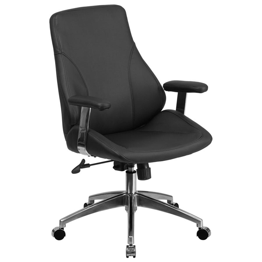 mid back black leather executive swivel office chair with chrome arms