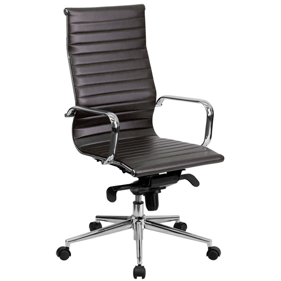 Flash furniture bt 9826h brn gg high back brown ribbed for Cream office chair