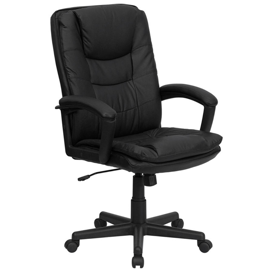 High Back Black Leather Executive Swivel Office Chair With Leather Arms And T