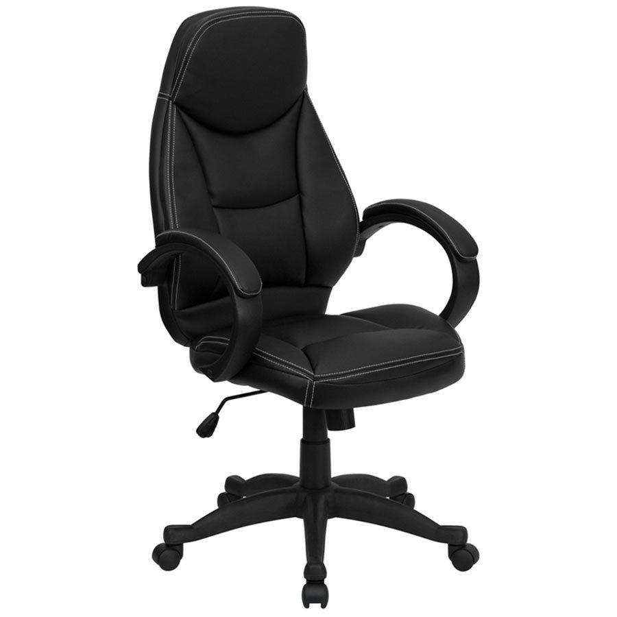 High back black leather contemporary executive office for Modern leather office chairs