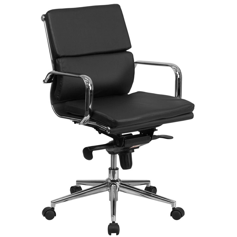 flash furniture bt-9895m-bk-gg mid-back black leather executive