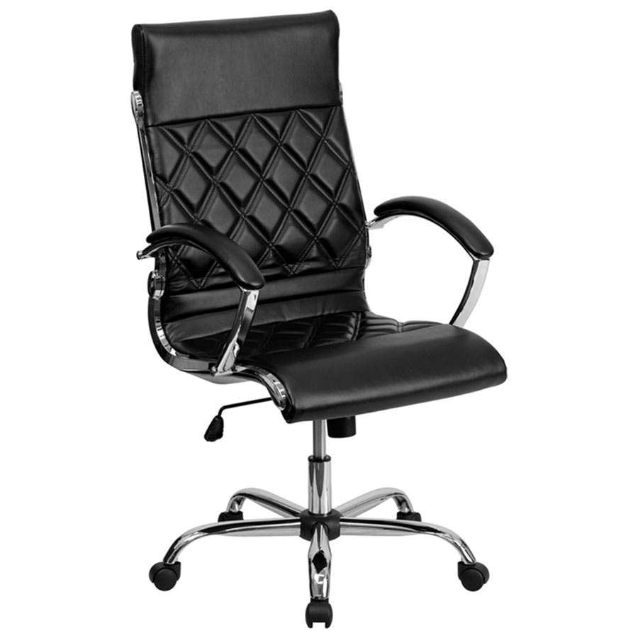 High back black designer leather executive office chair for Luxury leather office chairs