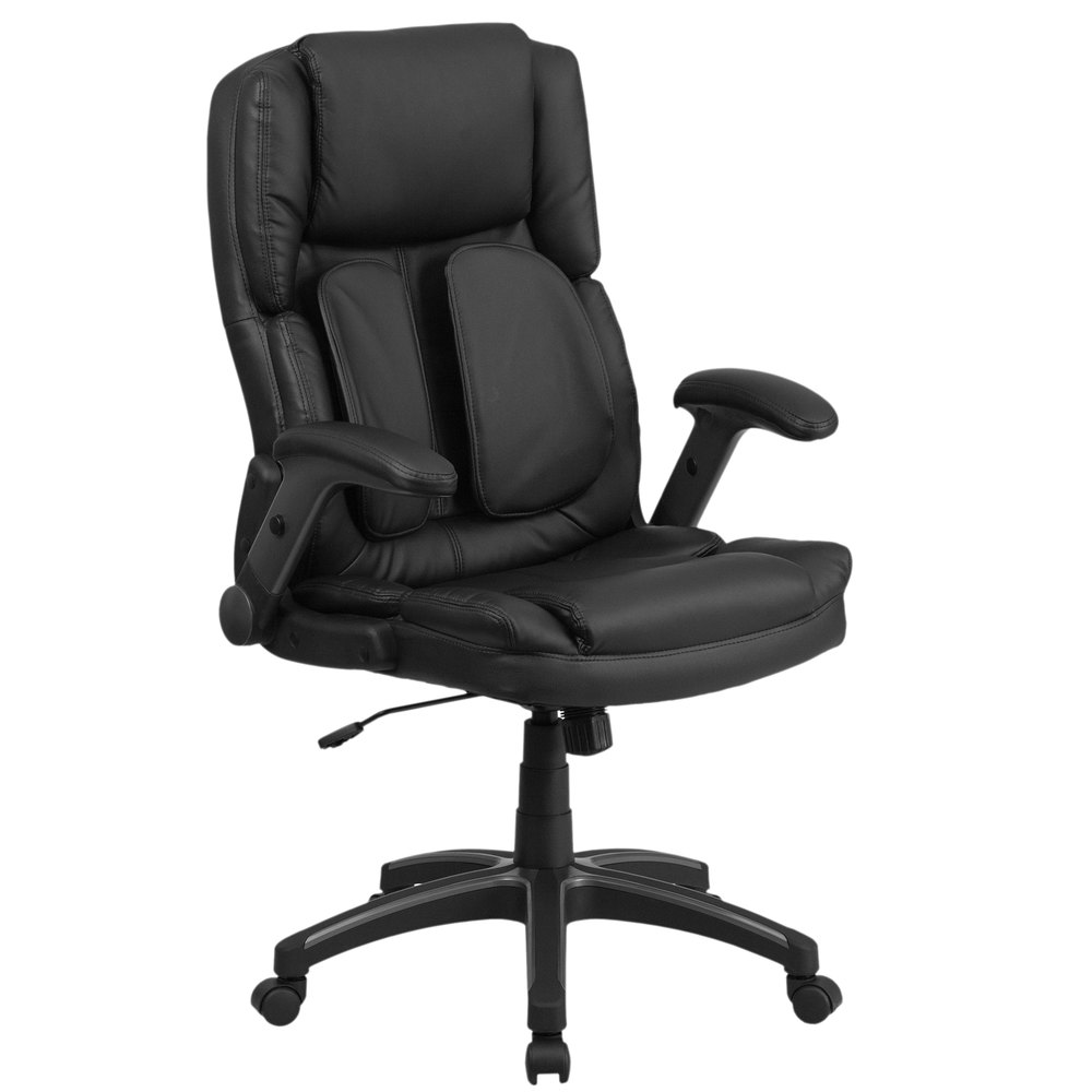 high back black leather executive swivel office chair with outer lumbar support and flip up arms. Black Bedroom Furniture Sets. Home Design Ideas