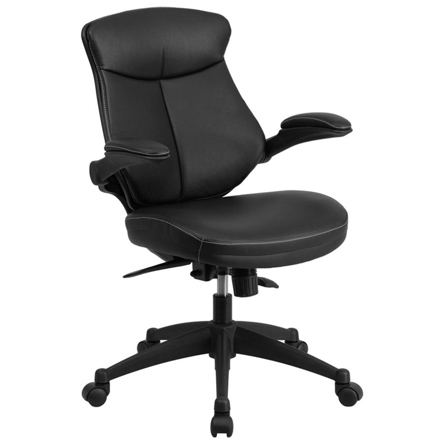 Flash Furniture BL ZP 804 GG Mid Back Black Leather Office Chair   Task  Chair with Back Angle Adjustment and Flip Up ArmsFlash Furniture BL ZP 804 GG Mid Back Black Leather Office Chair  . Flash Furniture Mid Back Office Chair Black Leather. Home Design Ideas