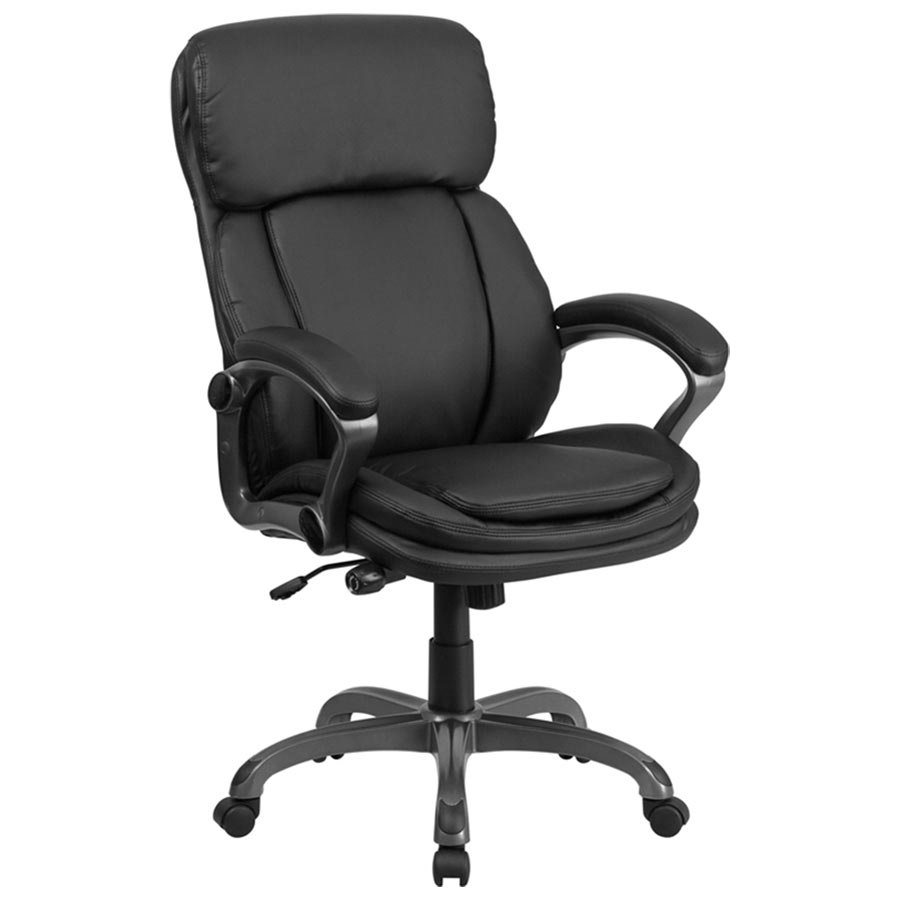 high back black leather executive swivel office chair with lumbar support knob and loop arms. Black Bedroom Furniture Sets. Home Design Ideas