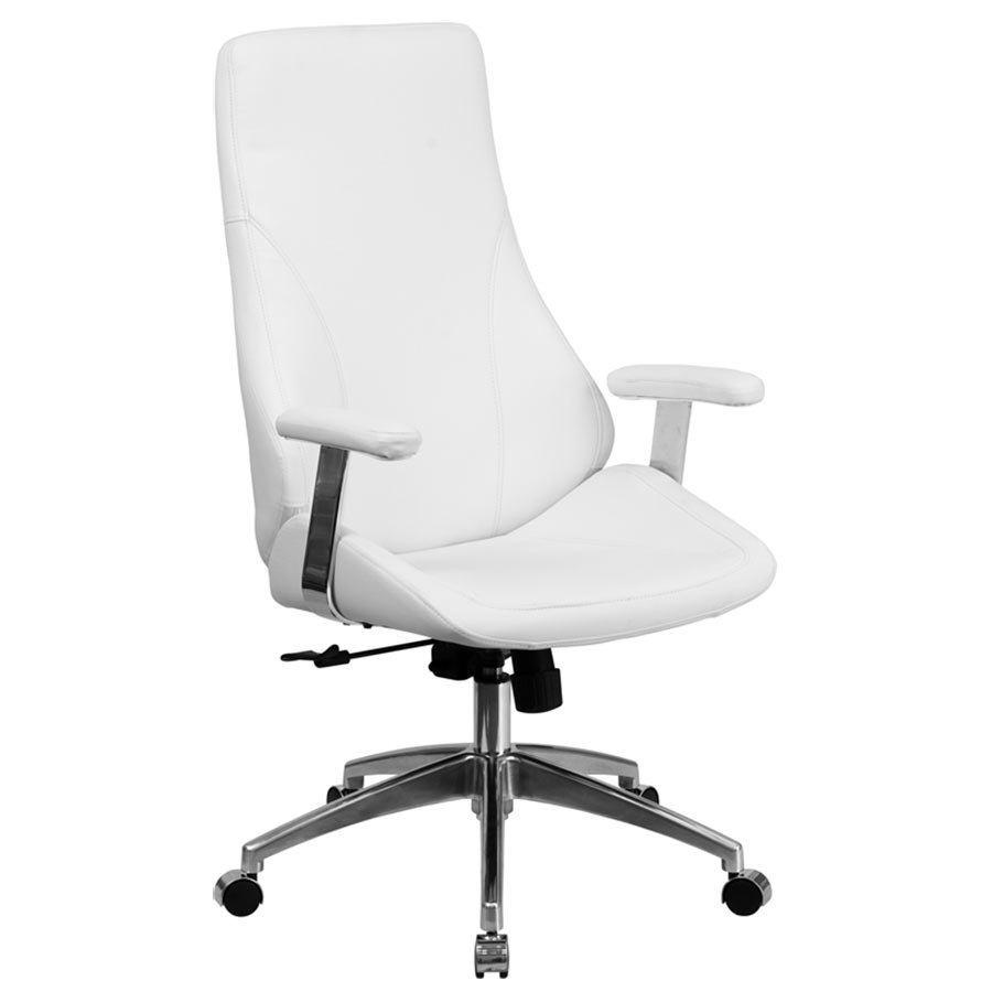 High Back White Leather Executive Swivel Office Chair With Padded Chrome Arms