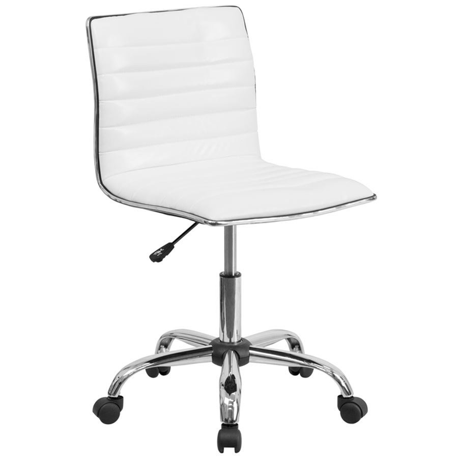 Flash Furniture BTMWHGG MidBack Designer Ribbed White - White leather office chairs