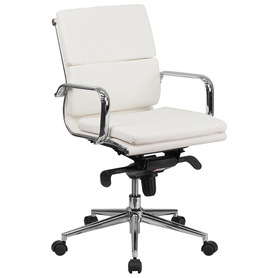 mid back white leather executive swivel office chair with chrome arms