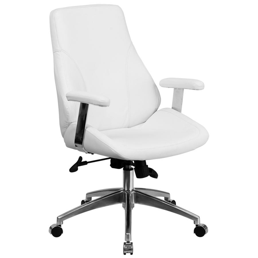 white leather executive swivel office chair with padded chrome arms
